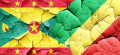 Grenada flag with congo flag on a grunge cracked wall - stock illustration