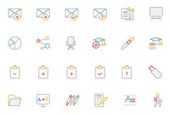 Education Colored Line Vector Icons Collection Stock Illustration