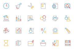 School and Education Colored Line Vector Icons Piirros
