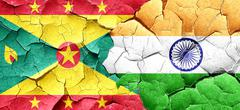Grenada flag with India flag on a grunge cracked wall - stock illustration