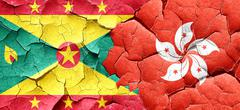 Grenada flag with Hong Kong flag on a grunge cracked wall - stock illustration