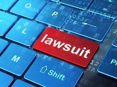 Law concept: Lawsuit on computer keyboard background Stock Illustration