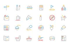 Hotel and Restaurant Colored line Vector Icons Stock Illustration