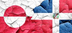 greenland flag with Dominican Republic flag on a grunge cracked - stock illustration