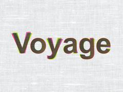 Vacation concept: Voyage on fabric texture background - stock illustration