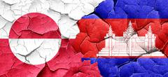 greenland flag with Cambodia flag on a grunge cracked wall - stock illustration