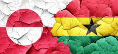 greenland flag with Ghana flag on a grunge cracked wall - stock illustration