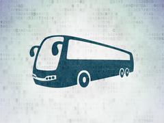 Travel concept: Bus on Digital Data Paper background Stock Illustration