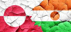 Greenland flag with Niger flag on a grunge cracked wall Stock Illustration