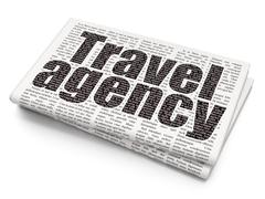 Travel concept: Travel Agency on Newspaper background - stock illustration