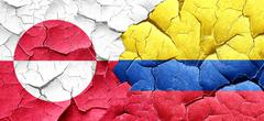 greenland flag with Colombia flag on a grunge cracked wall - stock illustration