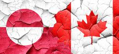 greenland flag with Canada flag on a grunge cracked wall - stock illustration