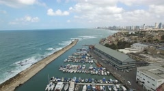 Jaffa - Port view to Tel-Aviv (South to North) Stock Footage