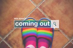 Coming out internet web page search box - stock photo