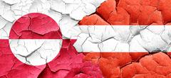 greenland flag with Austria flag on a grunge cracked wall - stock illustration