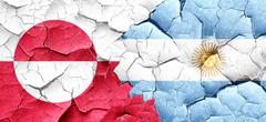 greenland flag with Argentine flag on a grunge cracked wall - stock illustration
