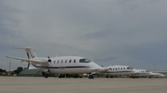 Parked Aircraft Time Lapse. The Aircraft is a Piaggio P180 Avanti Stock Footage