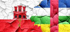 gibraltar flag with Central African Republic flag on a grunge cr - stock illustration