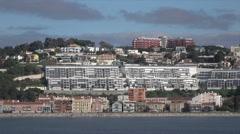 Lisbon, apartment blocks, suburbs along Tagus River, Portugal Stock Footage