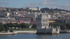 Lisbon, Belem Tower, along Tagus River, Portugal Stock Footage