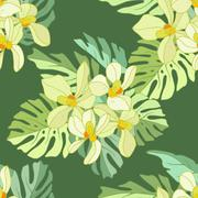 Seamless pattern of exotic flowers - stock illustration