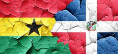 Ghana flag with Dominican Republic flag on a grunge cracked wall Stock Illustration