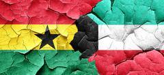 Ghana flag with Kuwait flag on a grunge cracked wall - stock illustration
