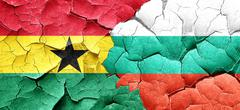 Ghana flag with Bulgaria flag on a grunge cracked wall Piirros