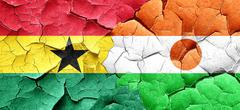 Ghana flag with Niger flag on a grunge cracked wall - stock illustration