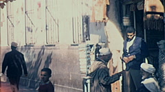 Morocco 1970: people outside a bazar - stock footage