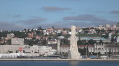 Lisbon, Monument to the Discoveries on Tegus River, Portugal Stock Footage