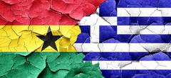 Ghana flag with Greece flag on a grunge cracked wall Stock Illustration