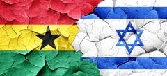Ghana flag with Israel flag on a grunge cracked wall Stock Illustration