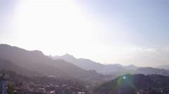 Aerial sun Santa Teresa neighbourhood hills Rio de Janeiro Stock Footage