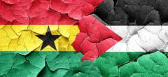 Ghana flag with Palestine flag on a grunge cracked wall - stock illustration