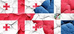 Georgia flag with Dominican Republic flag on a grunge cracked wa Stock Illustration