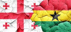 Georgia flag with Ghana flag on a grunge cracked wall Stock Illustration