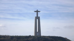 Lisbon, Christ the King statue, Tagus River, Portugal Stock Footage