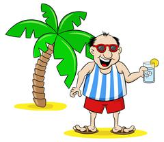 cartoon tourist with drink on holiday - stock illustration