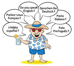 Tourist who wants to know what languages you speak Stock Illustration
