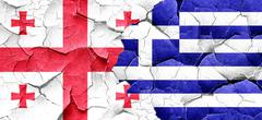 Georgia flag with Greece flag on a grunge cracked wall - stock illustration