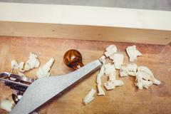 View of carpenter work tool with wooden chips Stock Photos