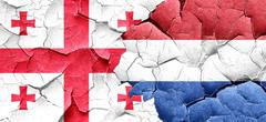 Georgia flag with Netherlands flag on a grunge cracked wall - stock illustration