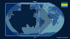 Gabon - 3D tube zoom (Kavrayskiy VII projection). Solids Stock Footage