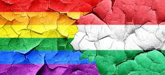 Gay pride flag with Hungary flag on a grunge cracked wall - stock illustration