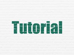 Education concept: Tutorial on wall background Stock Illustration