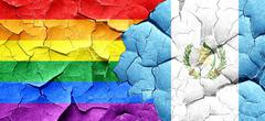 Gay pride flag with Guatemala flag on a grunge cracked wall Stock Illustration