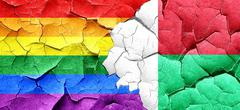 Gay pride flag with Madagascar flag on a grunge cracked wall Stock Illustration