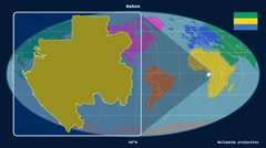 Gabon - 3D tube zoom (Mollweide projection). Continents Stock Footage