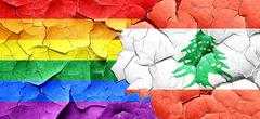 Gay pride flag with Lebanon flag on a grunge cracked wall - stock illustration